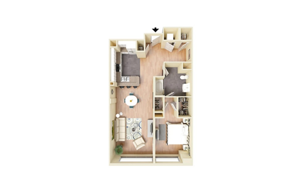 G - 1 bedroom floorplan layout with 1 bath and 880 square feet.