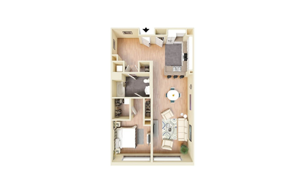 H - 1 bedroom floorplan layout with 1 bath and 926 square feet.