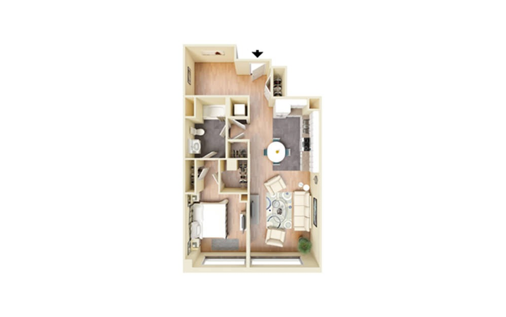F - 1 bedroom floorplan layout with 1 bath and 850 square feet.