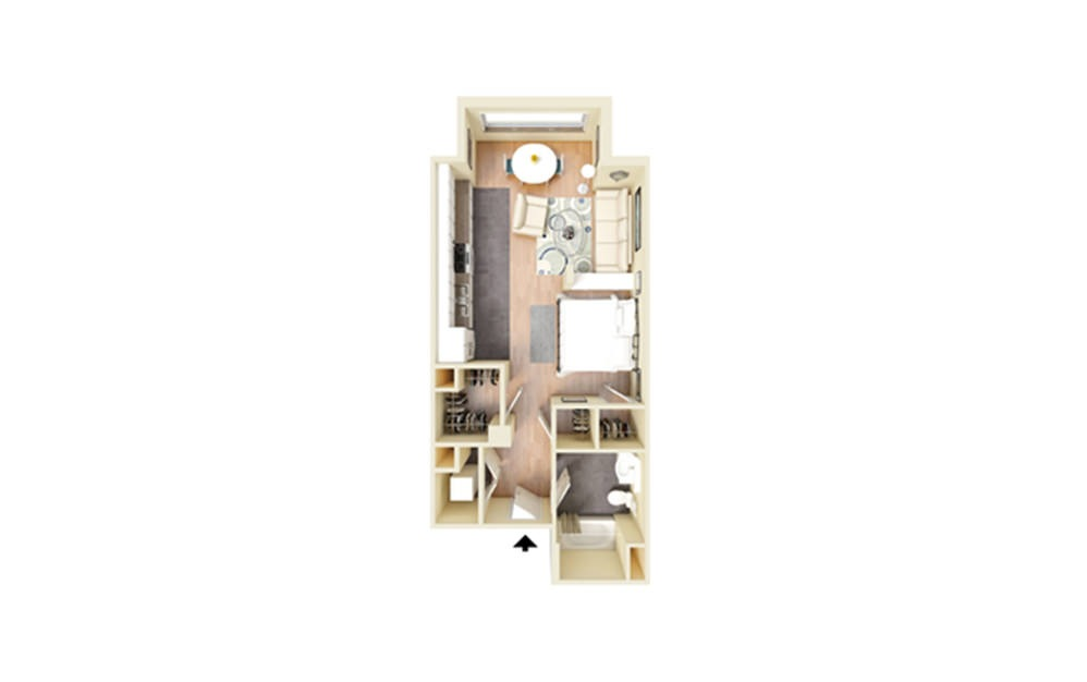A - Studio floorplan layout with 1 bath and 553 square feet.