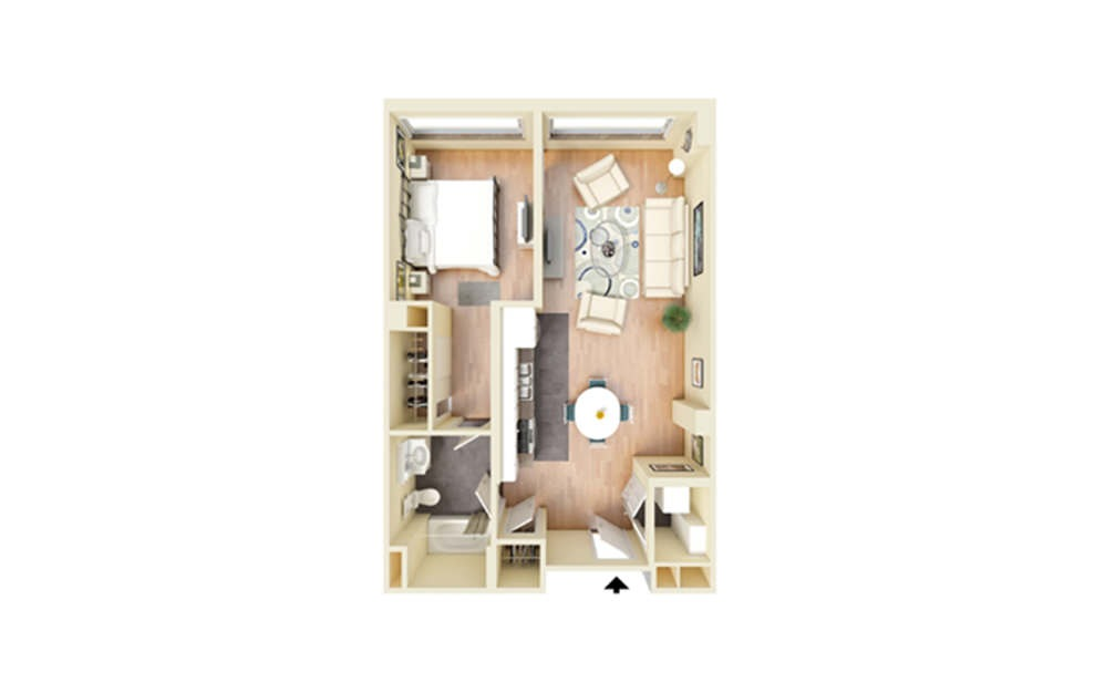 C - 1 bedroom floorplan layout with 1 bath and 620 square feet.