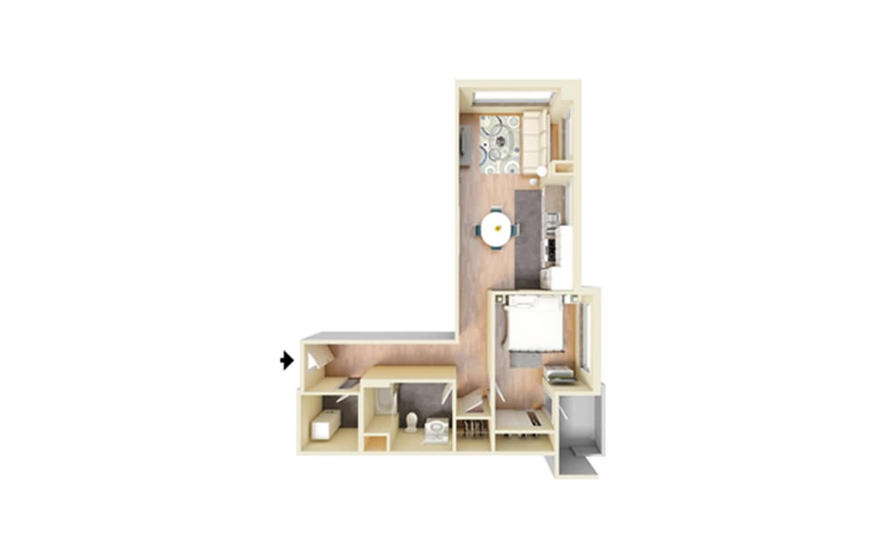 E - 1 bedroom floorplan layout with 1 bath and 764 square feet.