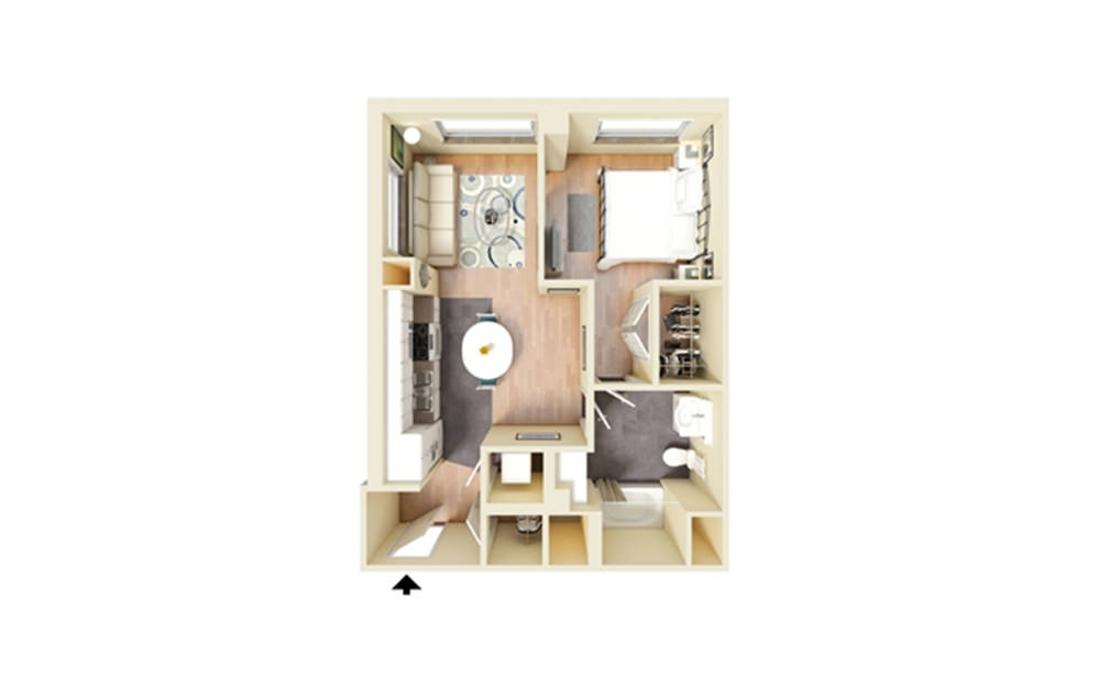 B - 1 bedroom floorplan layout with 1 bath and 598 square feet.