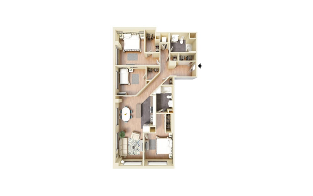 P - 3 bedroom floorplan layout with 2 baths and 1453 square feet.