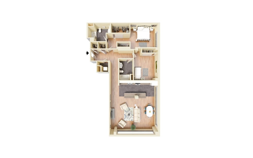 O - 2 bedroom floorplan layout with 2 baths and 1496 square feet.