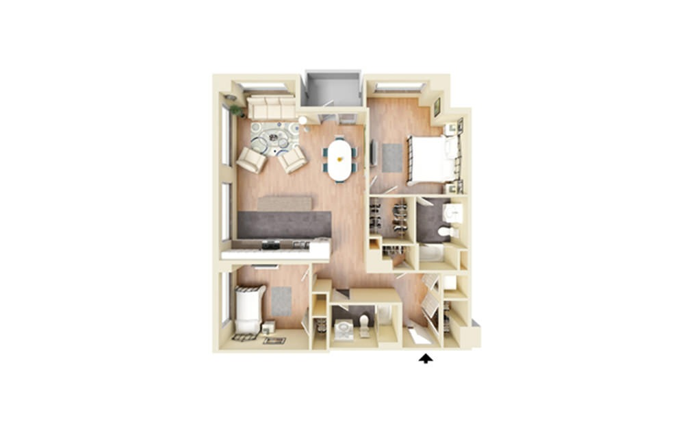 N - 2 bedroom floorplan layout with 2 baths and 1241 square feet.