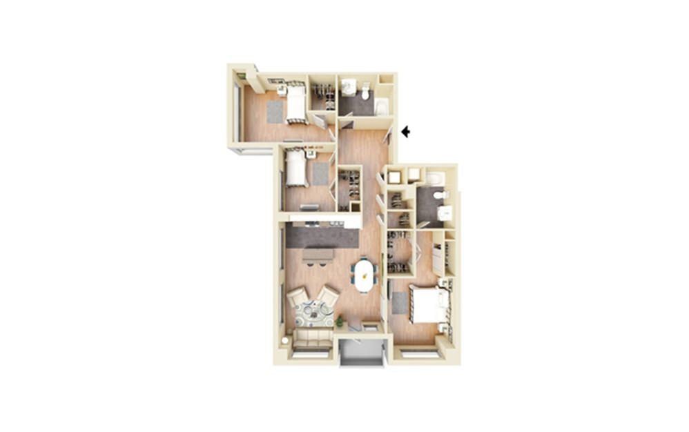 Q - 3 bedroom floorplan layout with 2 baths and 1474 square feet.