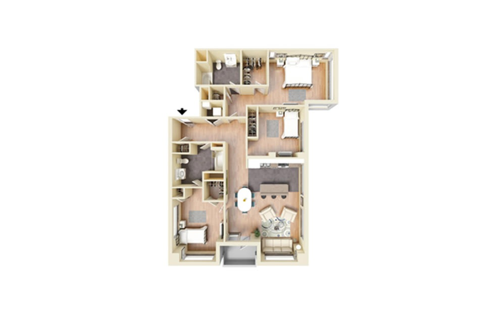 R - 3 bedroom floorplan layout with 2 baths and 1521 square feet.