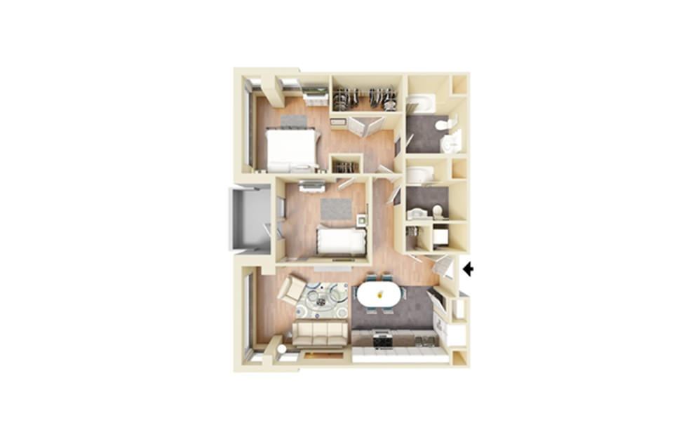 I - 2 bedroom floorplan layout with 2 baths and 990 square feet.