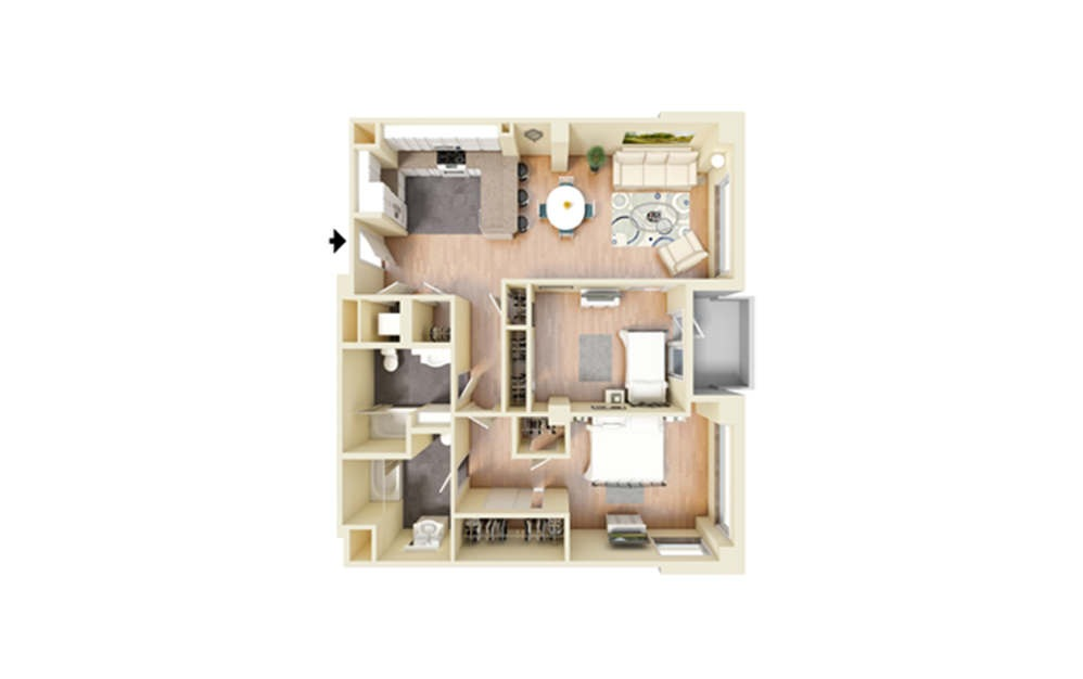 N - 2 bedroom floorplan layout with 2 baths and 1133 square feet.