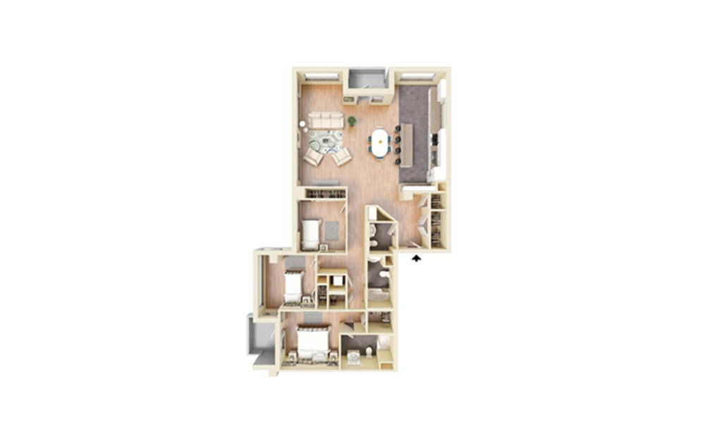 S - 3 bedroom floorplan layout with 2 baths and 1783 square feet.