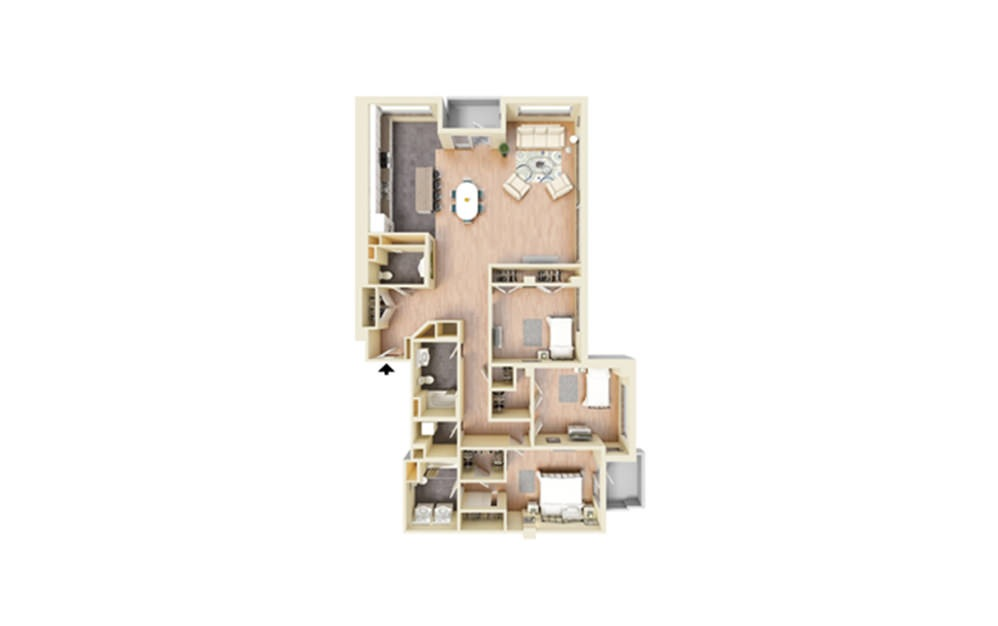 T - 3 bedroom floorplan layout with 3 baths and 1910 square feet.